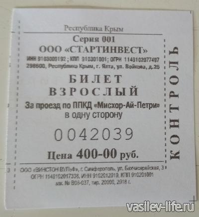 Билет на канатку
