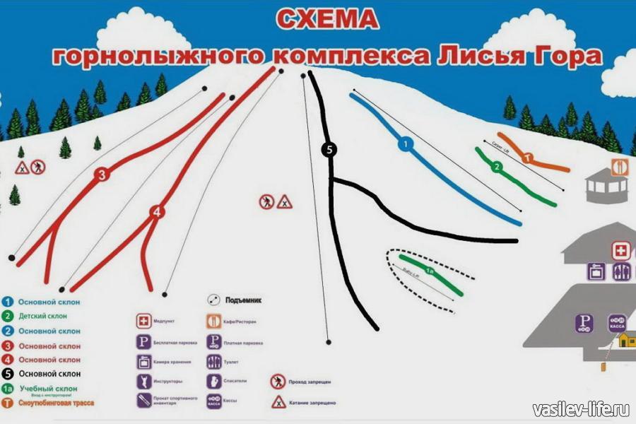 Горнолыжный курорт «Лисья гора», схема трасс