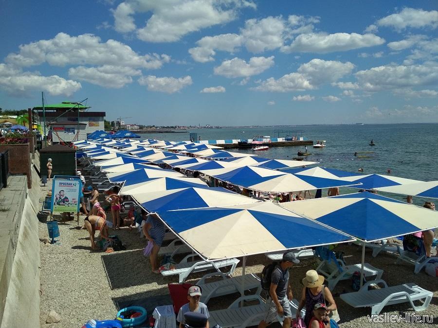 Зонты на пляже Камешки в Феодосии