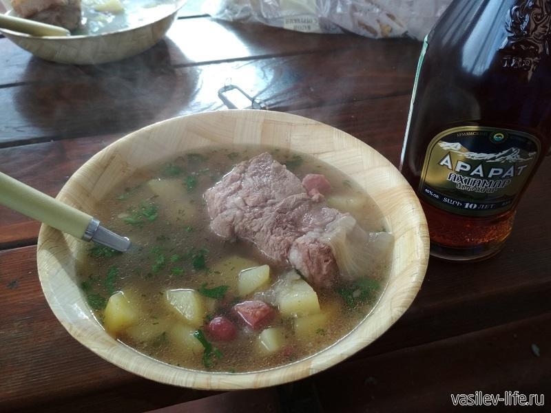 Мой ужин приготовленный в казане на мангале