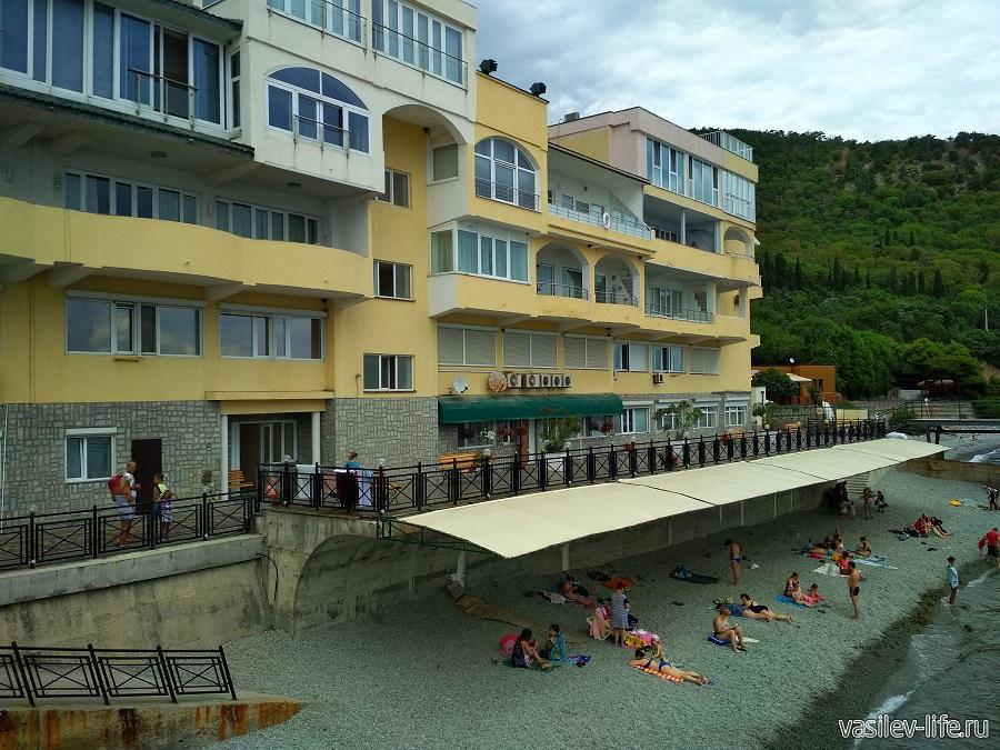 Никитский пляж в районе гостевого дома Сон у моря