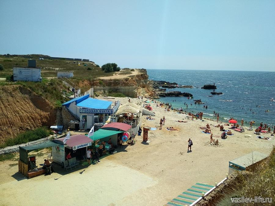 Пляж «Голубая бухта» в Севастополе